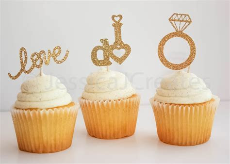 Gold Cupcake Toppers Bridal Shower Cupcake Toppers