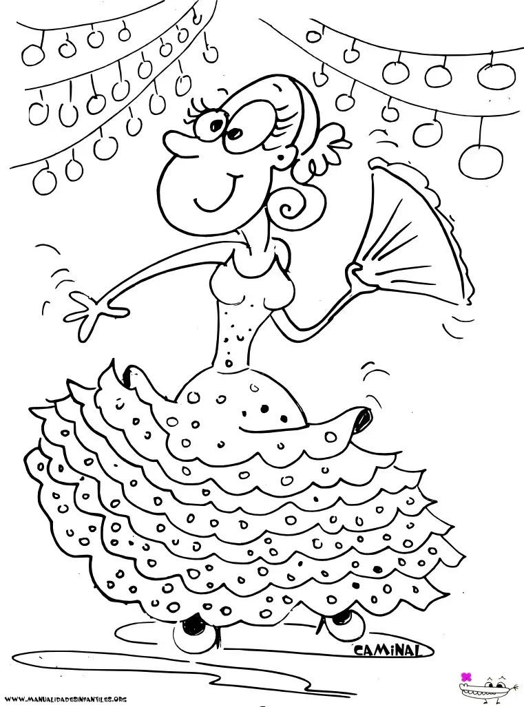 Dibujo De Una Gitana En La Feria Actividades Para Niños