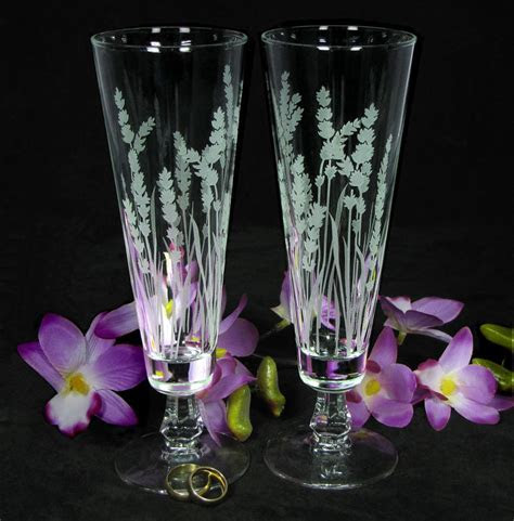 Lavender Wedding Decor, Personalized Toasting Flutes