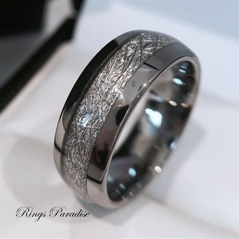 mens tungsten wedding band meteorite inlay ring