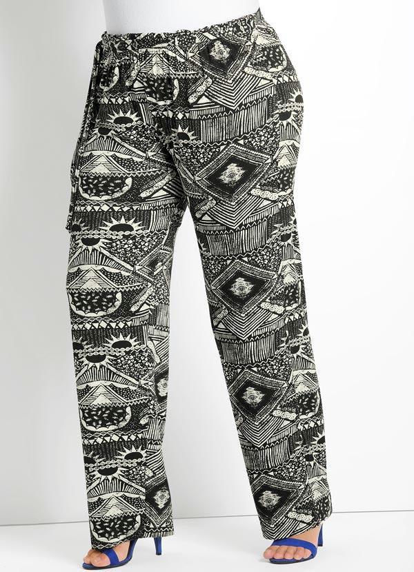 Calça Pantalona (Estampa Étnica) Plus Size