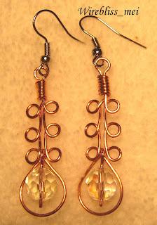 wire wrap copper earrings
