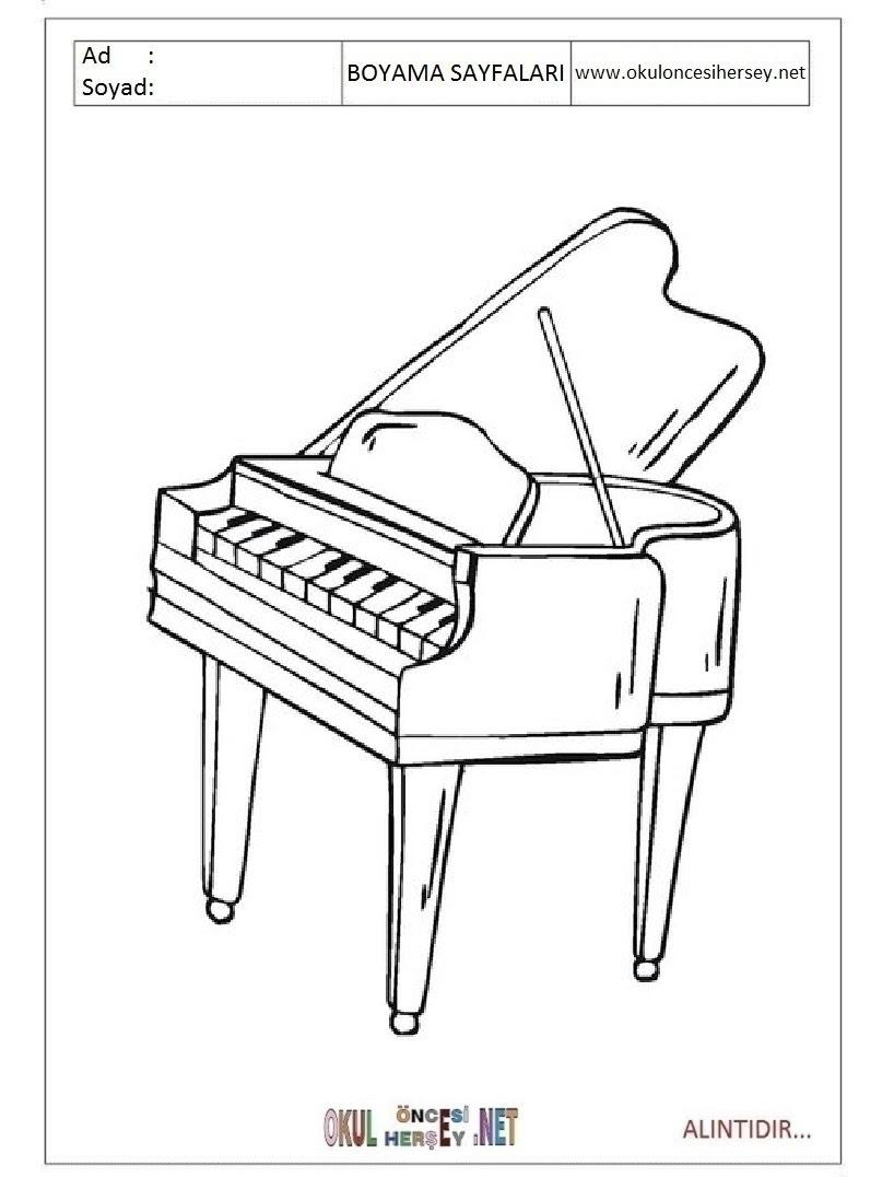 Piano Boyama Sayfaları