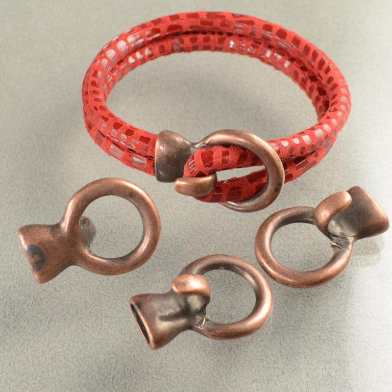 s36317 Findings - 5 mm Round Leather -  Circle Hook Clasp - Antique Copper (1)
