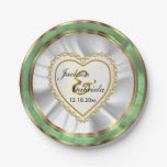 Gold & Faux Diamond & Mint Wedding or Anniversary 7 Inch Paper Plate