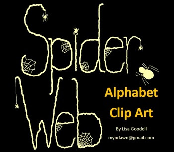 Spider Web Alphabet Clip Art in Ivory - SAMPLER
