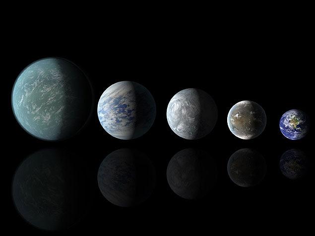 Concepção artística compara o tamanho dos exoplanetas, Kepler-22b, Kepler-69c, Kepler-62e, Kepler 62f, respectivamente, com a Terra. A descoberta dos dois últimos foi anunciada nesta quinta.
