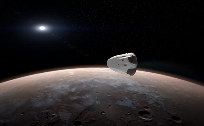 Elon Musk has announced ambitious plans to send humans to Mars by 2024. Image: Artist's drawing of the Dragon capsule at Mars. SpaceX.