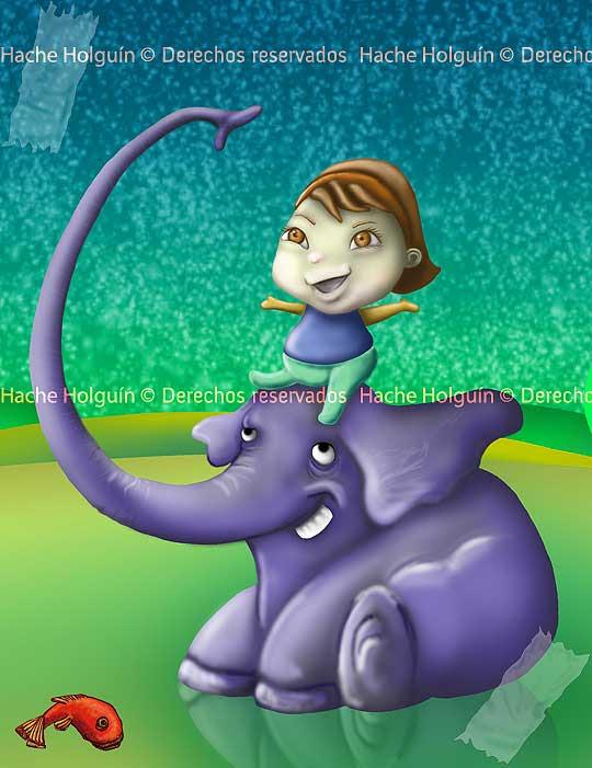 Bautizo elefante, ilustracion infantil por Hache Holguin, Hugo holguin
