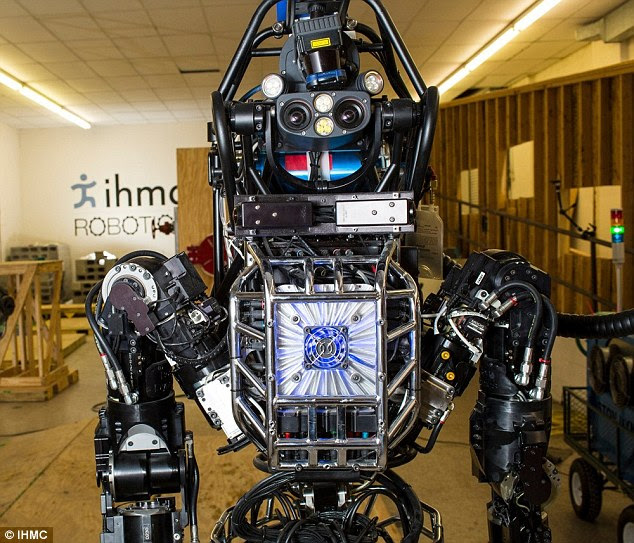 The Atlas robot has an articulated sensor head includes stereo cameras and a laser range finder so it can 'see' where it is going.