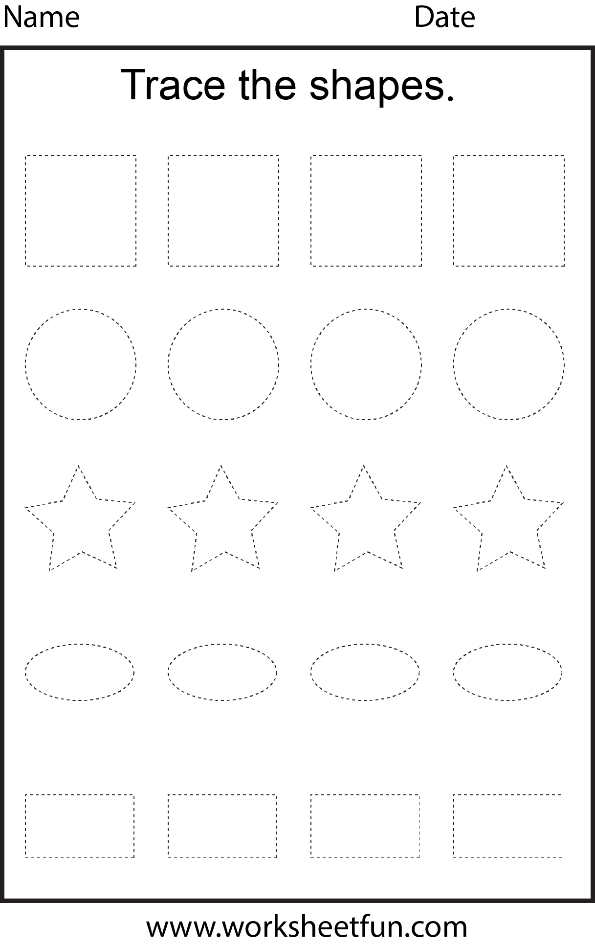 Shape Tracing – 1 Worksheet FREE Printable Worksheets