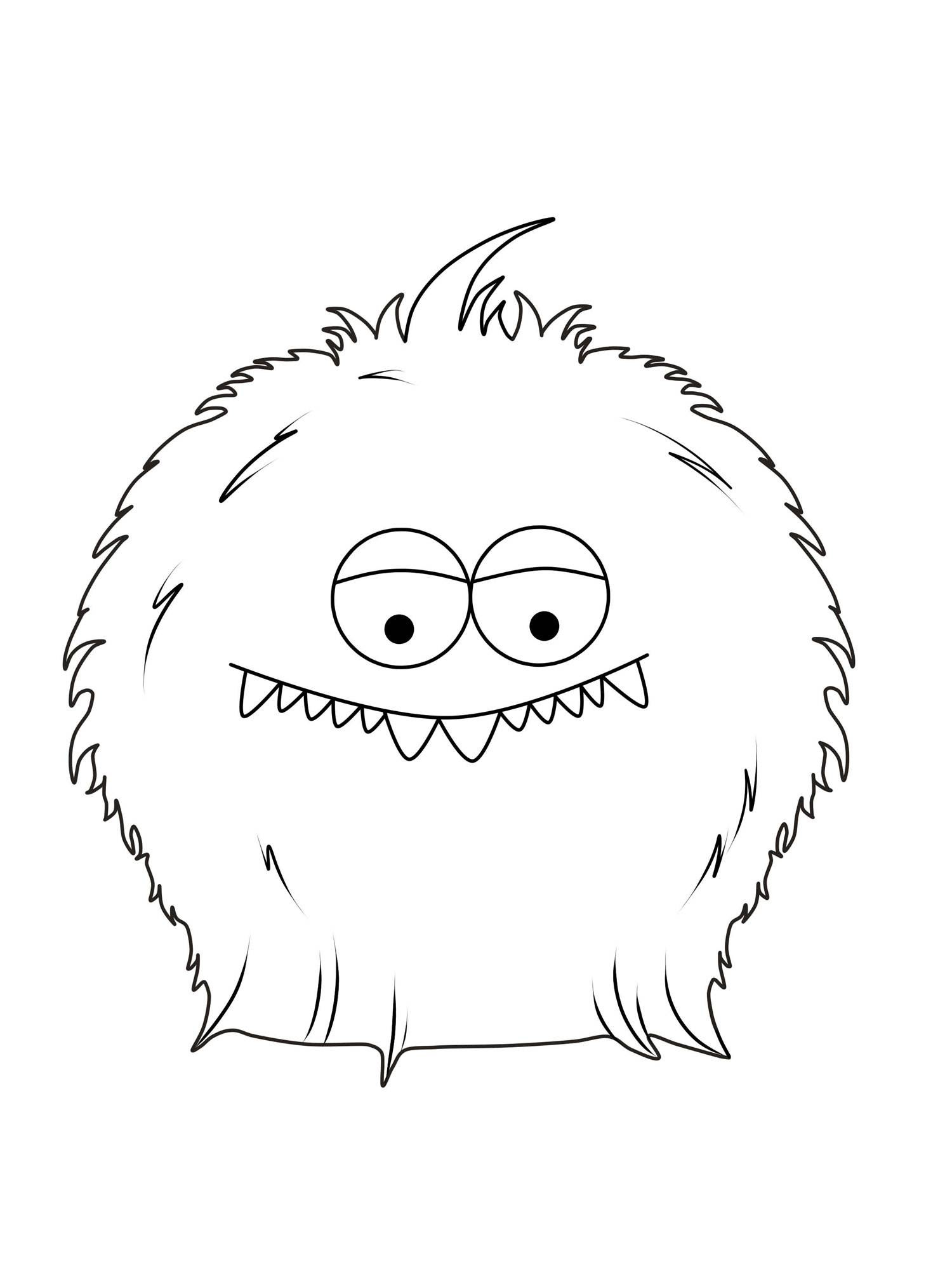 Hervorragend Kostenlose Malvorlage Halloween Pelziges Monster zum Ausmalen LH74