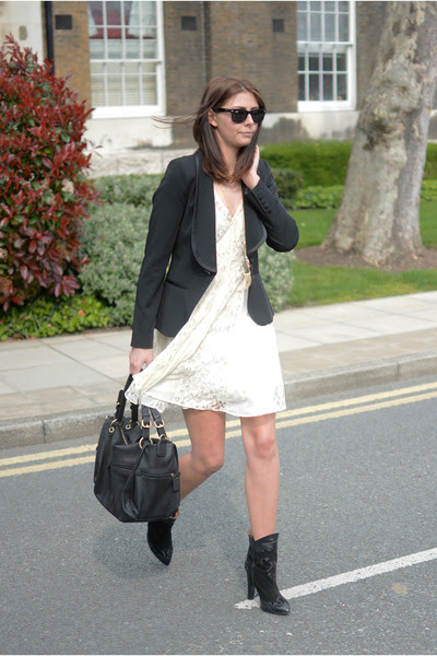 black Zara boots - cream asos dress - black Primark blazer - black Fiorelli bag