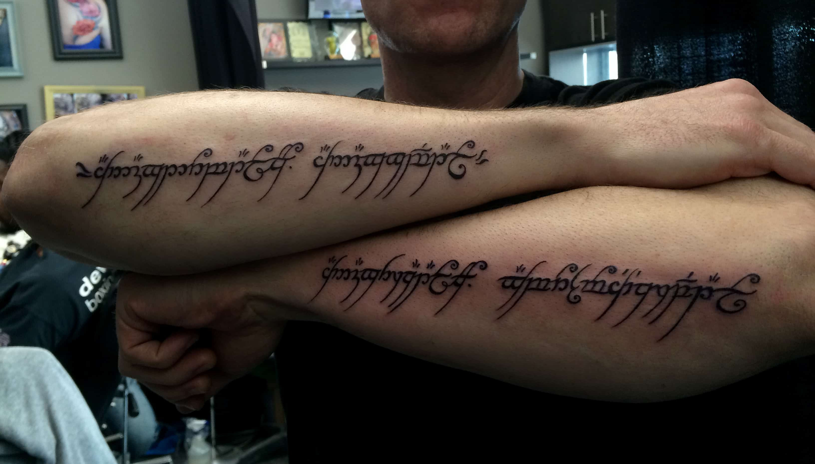Lord Of The Rings Custom Lettering Tattoo Chronic Ink
