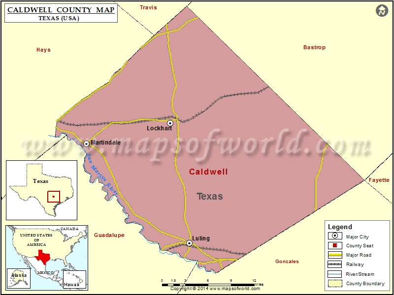 Caldwell County Map Map Of Caldwell County Texas