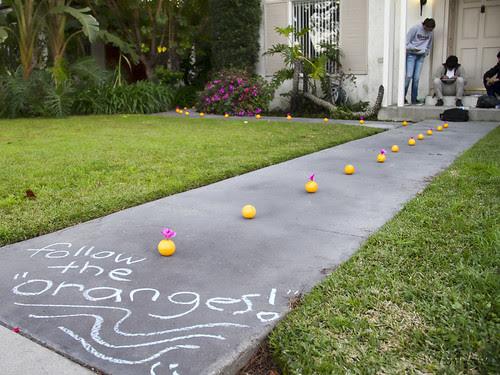 Follow the oranges