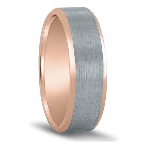 Novell Men's White & Rose Gold Satin Ring With Beveled