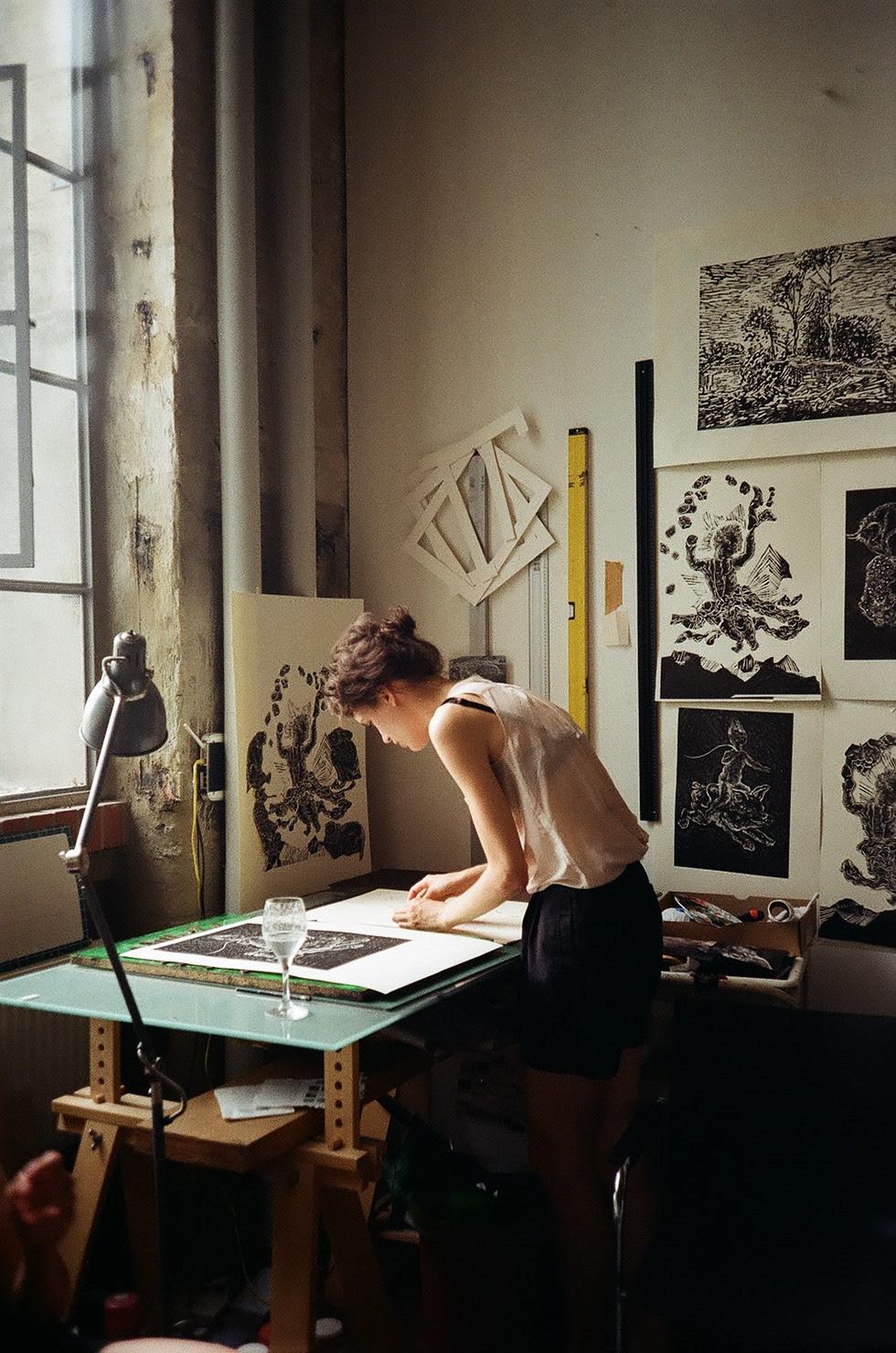 marlenmueller:  ULRIKE THEUSNER IN HER STUDIO IN LEIPZIG. JUNE 2014