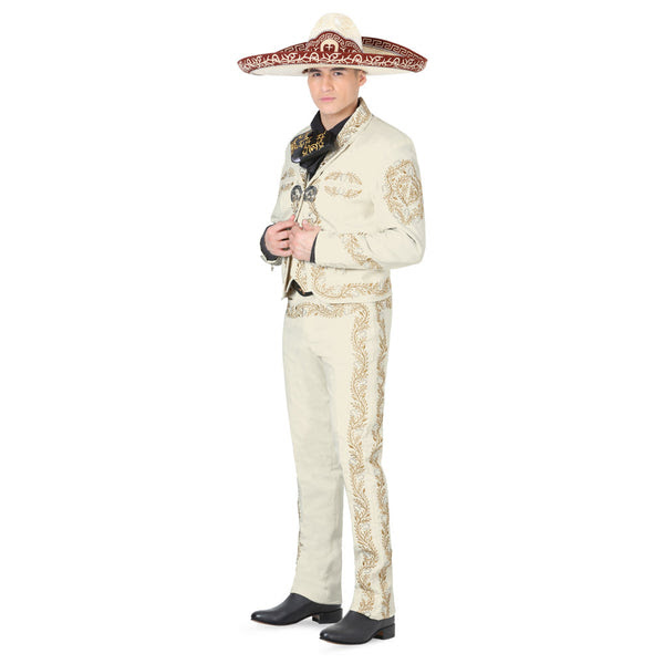 ivory  gold stitched charro suit – mis xv primaveras