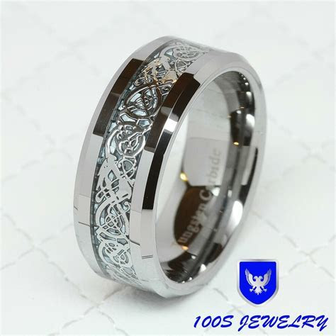8MM Tungsten Carbide Silver Celtic Dragon Inlay Mens Ring