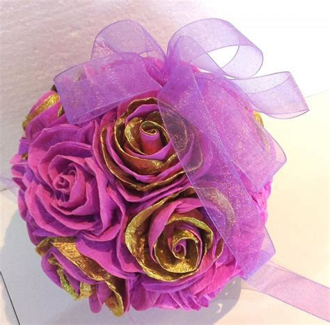 Gold Lavender Lilac Crepe Paper Flowers Ball Wedding