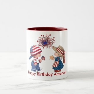 Vintage Happy Birthday America Two-Tone Coffee Mug