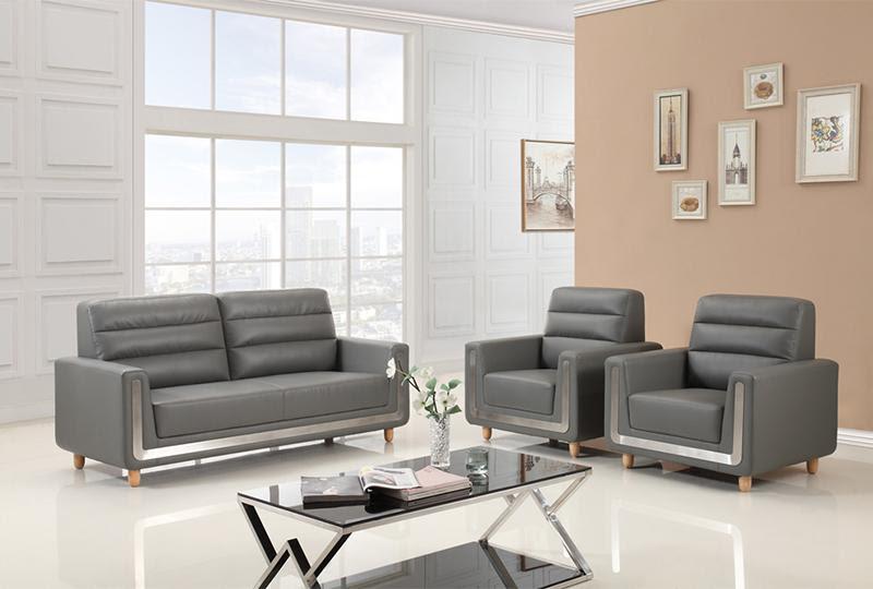 Sofá moderno para oficina de cuero gris   Yuanrich