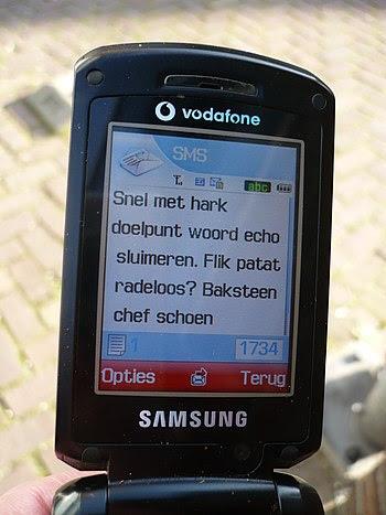 Nederlands: mobiele telefoon met sms bericht