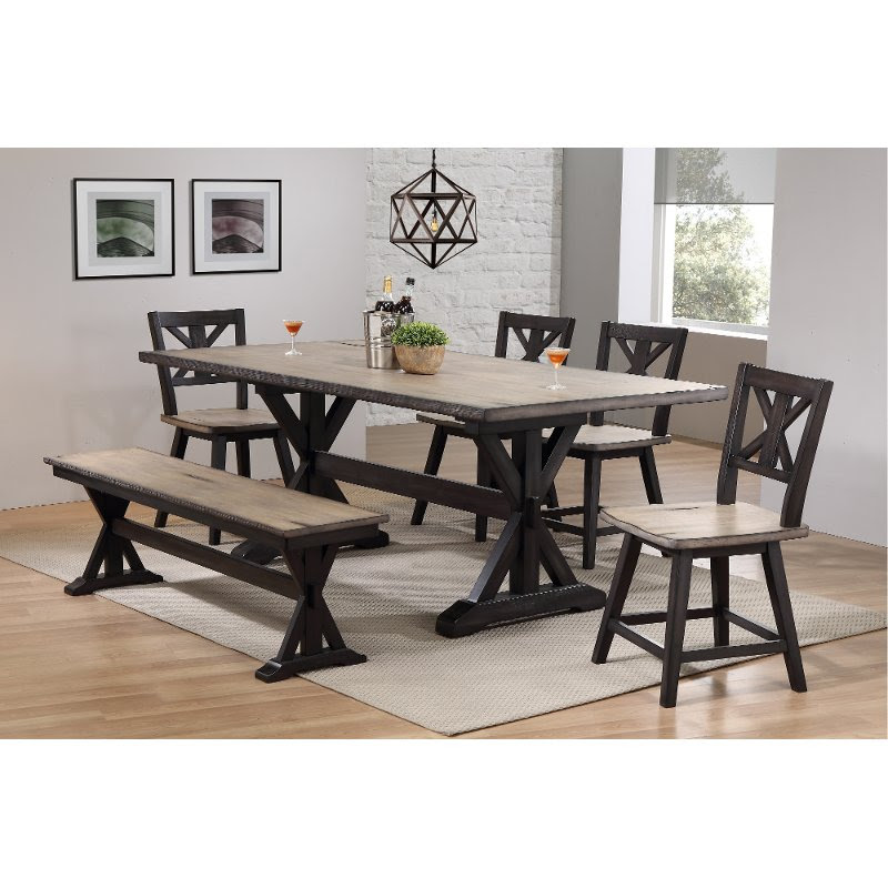 Farmhouse Sand And Black 6 Piece Dining Set With Bench Orlando Rc Willey Furniture Store