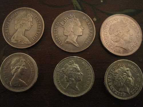 ERII coins: tuppence and pounds