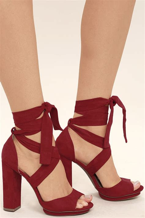 lovely dark red heels lace  heels vegan suede heels