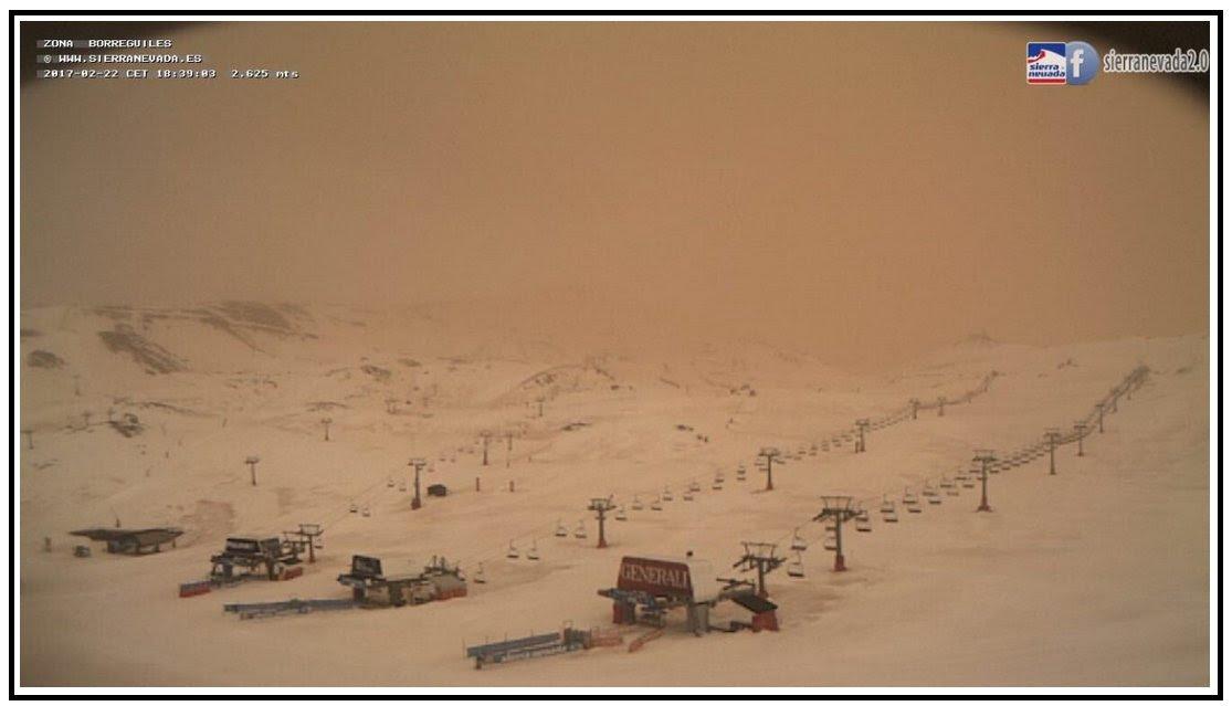 SANDSTORM DU SAHARA HITS ESPAGNE, sable de sahara en espagne 2017 calima, sable de sahara en espagne 2017 calima vidéo, sable de sahara en espagne 2017 photos de calima, du sable sur la neige dans la Sierra Nevada Espagne, la neige rouge en Espagne, le sable sahara couvre la neige en sierra nevada espagne