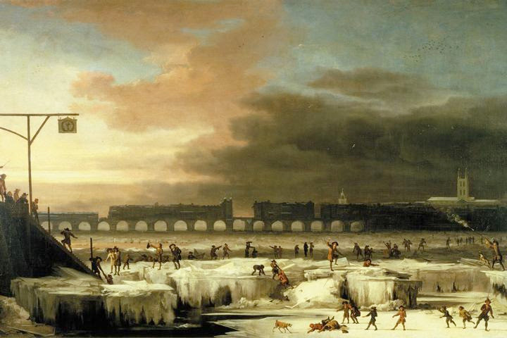 """In this 1677 painting by Abraham Hondius, """"The Frozen Thames, looking Eastwards towards Old London Bridge,"""" people are shown enjoying themselves on the ice. In 17th century there was a prolonged reduction in solar activity called the Maunder minimum, which lasted roughly from 1645 to 1700. During this period, there were only about 50 sunspots instead of the usual 40-50 thousand recorded. Image credit: Museum of London."""