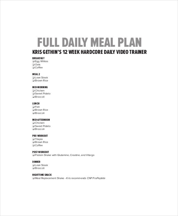 Daily Menu Planner Template - 6+ Free PDF Documents Download ...