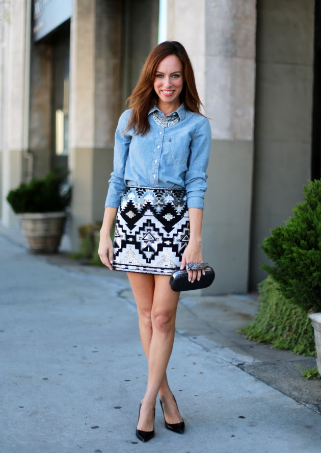 18 street style outfit ideas with denim shirt  fashionsy