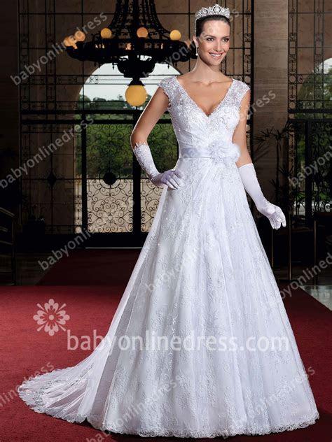 Royal Wedding Dresses 2018 Sexy V Neck Cap Sleeve A Line