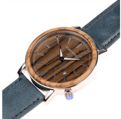 classic mens wooden   adjustable blue leather