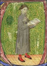 Geoffrey Chaucer portrait in a historiated initial.