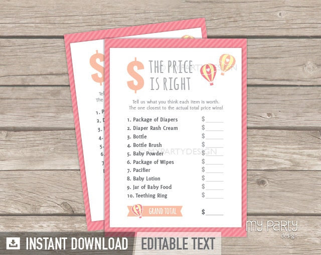 The Price is Right Game - Hot Air Balloon Girl Baby Shower Game ...