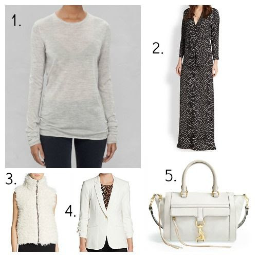 And Other Stories Top - BCBGMAXAZRIA Dress - C and C California Vest - Elizabeth and James Blazer - Rebecca Minkoff Handbag