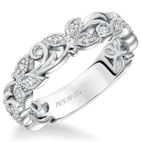 "Artcarved ""Florence"" Flower Scrollwork Wedding Band"