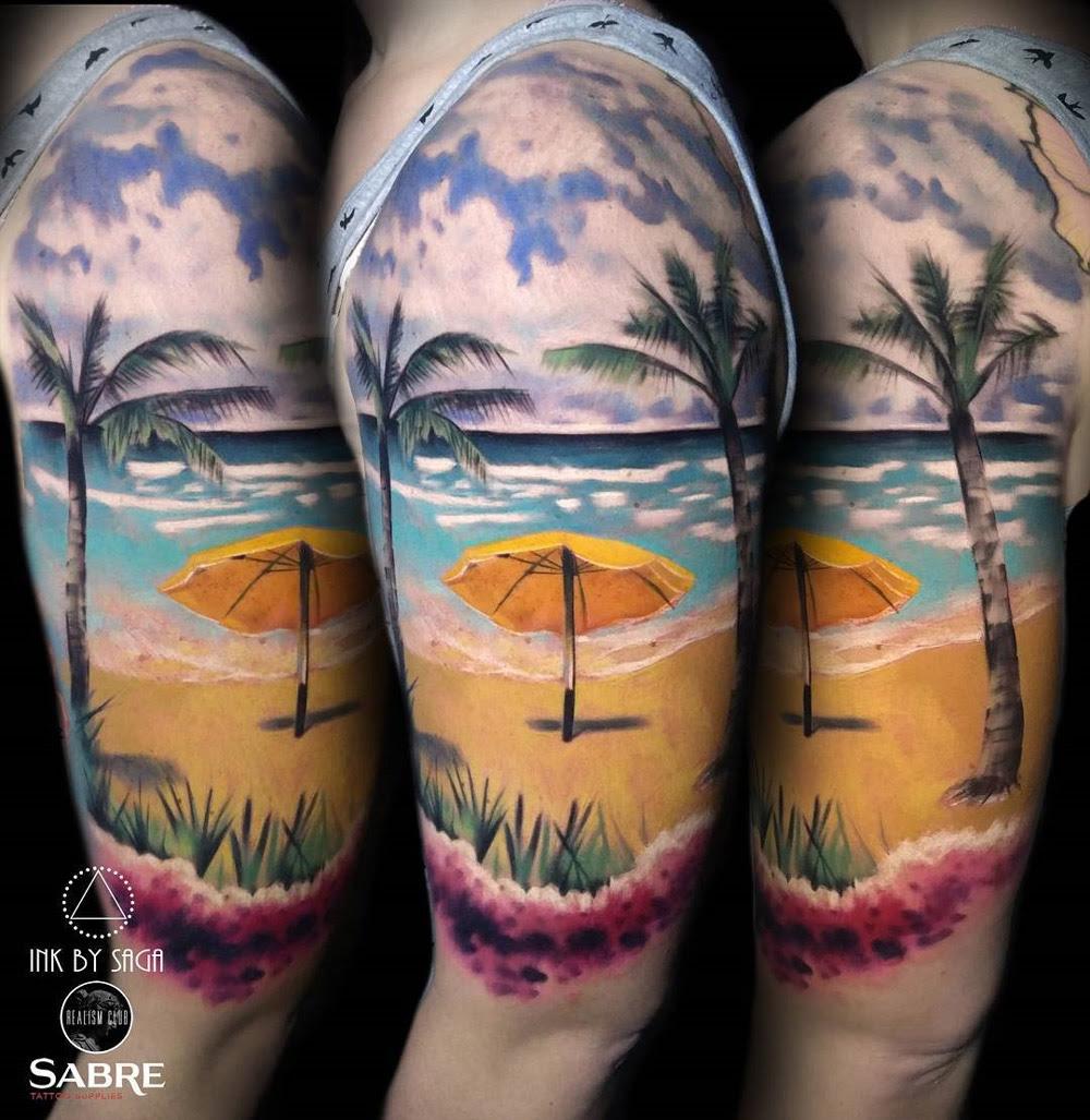 Hawaiian Beach Half Sleeve | Best tattoo design ideas