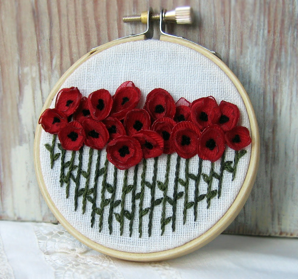 Red Poppies Fiber Art Embroidered Wall Decor