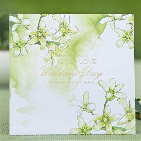 Green Wedding Invitation Card Floral Style Forever Love