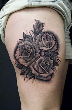 Right Thigh Black And White Rose Flowers Tattoo