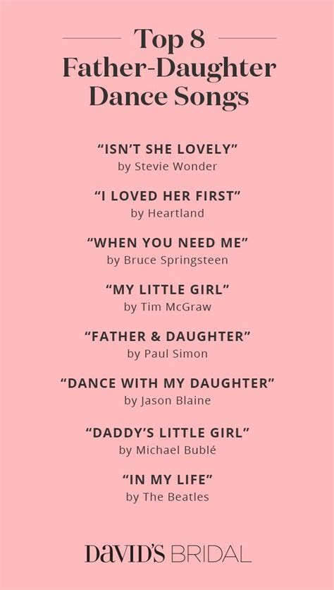 Top Father Daughter Dance Songs   David's Bridal   Wedding