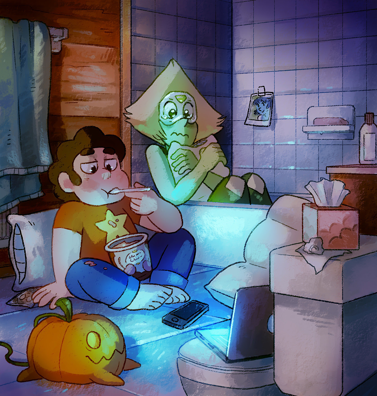 Rewatching episodes in preparation! Here are my kids watching romcoms in the bathroom