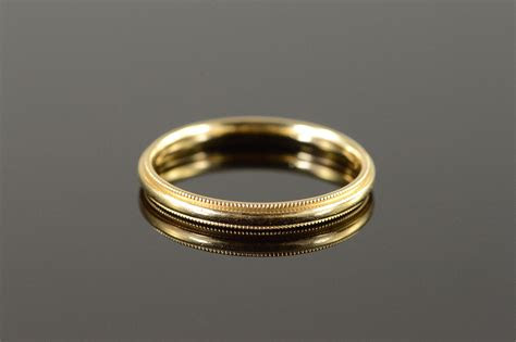 mm milgrain wedding band mens yellow gold ring
