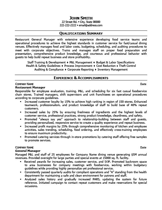 Resume Examples For Restaurant Manager