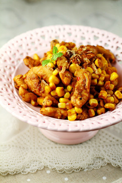 Chicken & Corn in XO Sauce